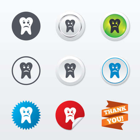 aching: Tooth sad face with tear sign icon. Aching tooth symbol. Unhealthy teeth. Circle concept buttons. Metal edging. Star and label sticker. Vector