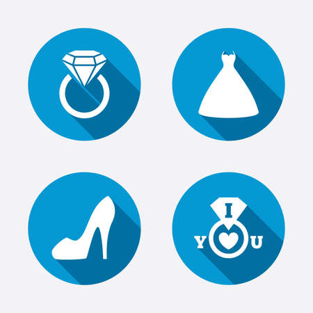 Wedding dress icon. Womens shoe symbol. Wedding or engagement day ring with diamond sign. Circle concept web buttons. Vector Illustration