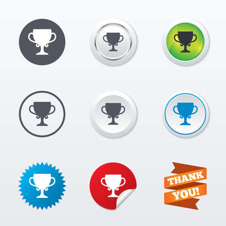awarding: Winner cup sign icon. Awarding of winners symbol. Trophy. Circle concept buttons. Metal edging. Star and label sticker. Vector