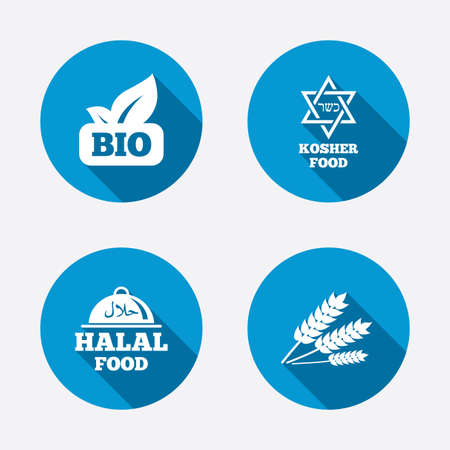 bio food: Natural Bio food icons. Illustration