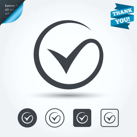 Tick sign icon. Check mark symbol. Circle and square buttons. Flat design set. Thank you ribbon. Vector