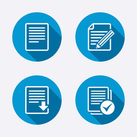 File document icons. Download file symbol. Edit content with pencil sign. Select file with checkbox. Circle concept web buttons. Vector Vector