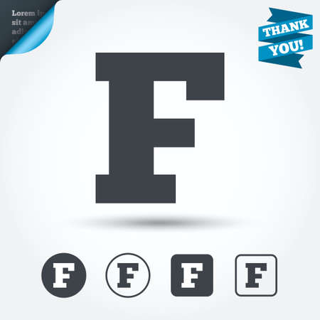 uppercase: Uppercase letter F icon. Illustration