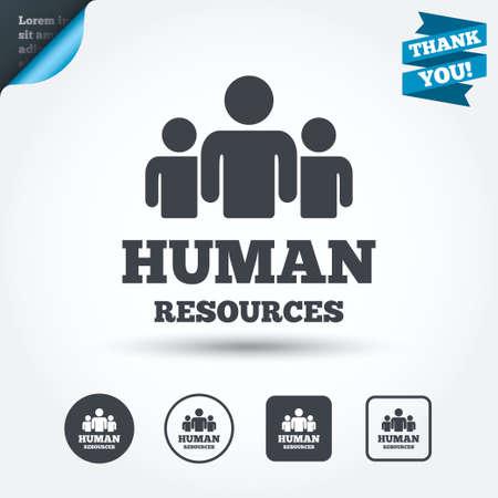 ikony: Zasoby ludzkie podpisać ikonę. Symbolem HR. Pracowników organizacji biznesowej. Grupa ludzi. Okrąg i kwadrat przyciski. Mieszkanie scenografia. Dziękuję wstążkę. Wektor