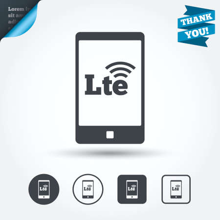 lte: 4G LTE sign in smartphone icon.