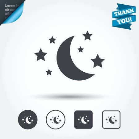 sleep: Luna y estrellas icono. Vectores