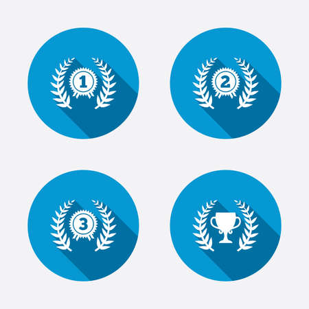 second prize: Laurel wreath award icons. Prize cup for winner signs. First, second and third place medals symbols. Circle concept web buttons. Vector