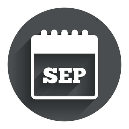 sep: Calendar sign icon. September month symbol. Circle flat button with shadow. Modern UI website navigation. Vector