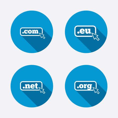 dns: Top-level internet domain icons. Com, Eu, Net and Org symbols with cursor pointer. Unique DNS names. Circle concept web buttons. Vector