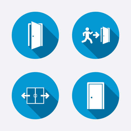 fire escape: Automatic door icon. Emergency exit with human figure and arrow symbols. Fire exit signs. Circle concept web buttons. Vector
