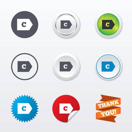消費: エネルギー効率クラス C 記号アイコン。エネルギー消費量のシンボルです。サークル コンセプト ボタン。金属のエッジング。スターとラベル ステッカー。ベクトル