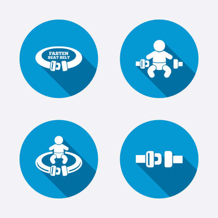 safety circle: Fasten seat belt icons. Child safety in accident symbols. Vehicle safety belt signs. Circle concept web buttons. Vector Illustration