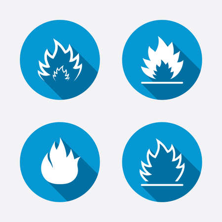 inflammable: Fire flame icons. Heat symbols. Inflammable signs. Circle concept web buttons. Vector Illustration