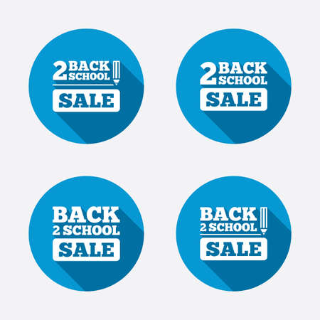 after school: Back to school sale icons. Studies after the holidays signs. Pencil symbol. Circle concept web buttons. Vector