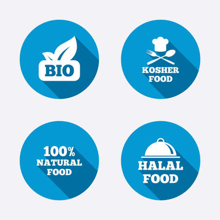 kosher: 100% Natural Bio food icons. Halal and Kosher signs. Chief hat with fork and spoon symbol. Circle concept web buttons. Vector