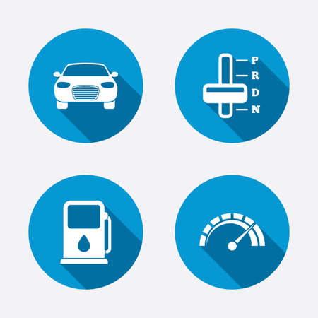 automatic transmission: Transport icons. Car tachometer and automatic transmission symbols. Petrol or Gas station sign. Circle concept web buttons. Vector