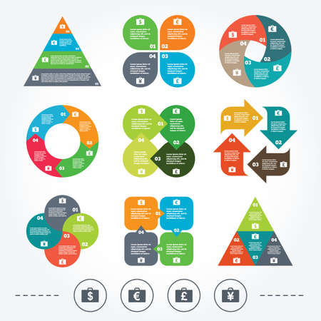 diplomat: Circle and triangle diagram charts. Businessman case icons. Cash money diplomat signs. Dollar, euro and pound symbols. Background with 4 options steps. Vector