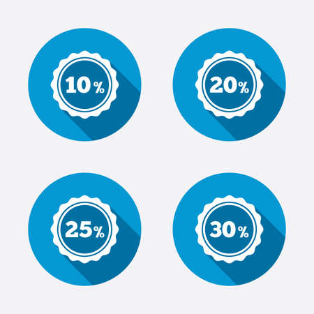 20 to 25: Sale discount icons. Special offer stamp price signs. 10, 20, 25 and 30 percent off reduction symbols. Circle concept web buttons. Vector Illustration