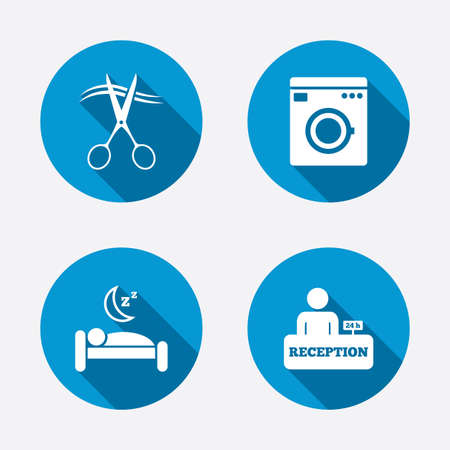 registration mark: Hotel services icons. Washing machine or laundry sign. Hairdresser or barbershop symbol. Reception registration table. Quiet sleep. Circle concept web buttons. Vector