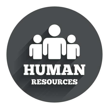 mensen kring: Human resources ondertekenen icoon. HR-symbool. Personeelsbestand van bedrijfsorganisatie. Groep mensen. Cirkel platte knop met schaduw. Modern UI website navigatie. Vector