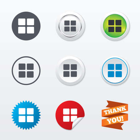 thumbnails: Thumbnails sign icon. Gallery view option symbol. Circle concept buttons. Metal edging. Star and label sticker. Vector