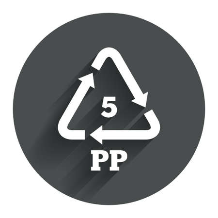 polymer: PP 5 icon. Polypropylene thermoplastic polymer sign. Recycling symbol. Circle flat button with shadow. Modern UI website navigation. Vector Illustration