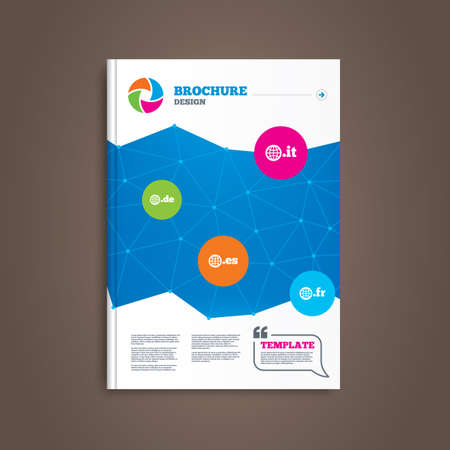 es: Brochure or flyer design. Top-level internet domain icons. De, It, Es and Fr symbols with globe. Unique national DNS names. Book template. Vector Illustration