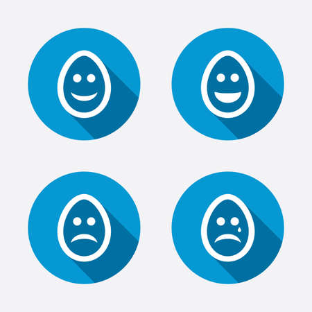 pasch: Eggs happy and sad faces icons. Crying smiley with tear symbols. Tradition Easter Pasch signs. Circle concept web buttons. Vector