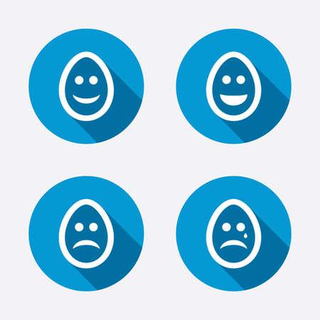 pasch: Uova felici e facce tristi icone. Piangere smiley con i simboli di lacrime. Tradizione segni di Pasqua Pasqua. Cerchio concetto pulsanti web. Vettore