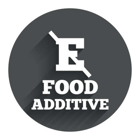 stabilizers: Food additive sign icon. Without E symbol. Healthy natural food. Circle flat button with shadow. Modern UI website navigation. Vector Illustration