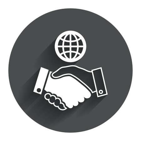 gönüllü: Dünya el sıkışma işareti simgesi. Dostane anlaşma. Dünya sembolü ile başarılı bir iş. Gölge ile Çember düz düğme. Modern UI web gezinme. Vektör