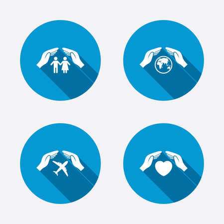 Hands insurance icons. Human life insurance symbols. Heart health sign. Travel flight symbol. Save world planet. Circle concept web buttons. Vector