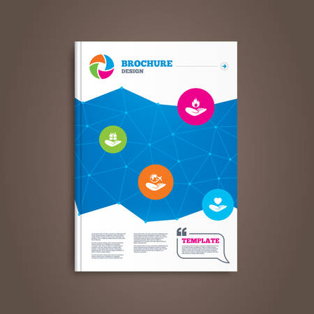present box: Brochure or flyer design. Helping hands icons. Health and travel trip insurance symbols. Gift present box sign. Fire protection. Book template. Vector