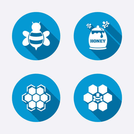 Honey icon. Honeycomb cells with bees symbol. Sweet natural food signs. Circle concept web buttons. Vector
