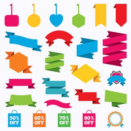 50 60: Etiquetas engomadas del Web, etiquetas y carteles. Iconos de la venta de etiquetas bolsa. Descuento s�mbolos oferta especial. 50%, 60%, 70% y 80% signos de porcentaje apagado. Etiquetas modernas plantilla. Vector