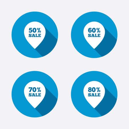 50 60: Iconos de la venta de etiquetas puntero. Descuento s�mbolos oferta especial. 50%, 60%, 70% y el 80% por ciento signos de venta. Botones concepto de web de c�rculo. Vector