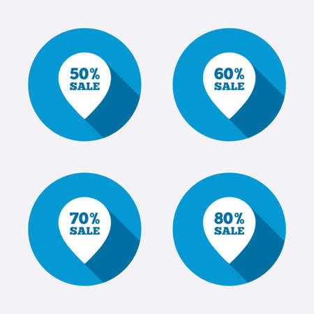 60 70: Sale pointer tag icons. Discount special offer symbols. 50%, 60%, 70% and 80% percent sale signs. Circle concept web buttons. Vector Illustration