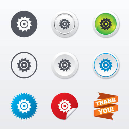 cutting blade: Saw circular wheel sign icon. Cutting blade symbol. Circle concept buttons. Metal edging. Star and label sticker. Vector