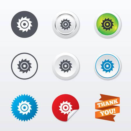 cutting blade: Sierra circular icono de la muestra de la rueda. Cortar s�mbolo de la cuchilla. Botones concepto c�rculo. Borde de metal. Estrellas y etiqueta autoadhesiva. Vector Vectores