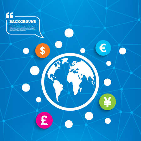 jpy: Abstract world globe. Dollar, Euro, Pound and Yen currency icons. USD, EUR, GBP and JPY money sign symbols. Molecule structure background. Vector Illustration