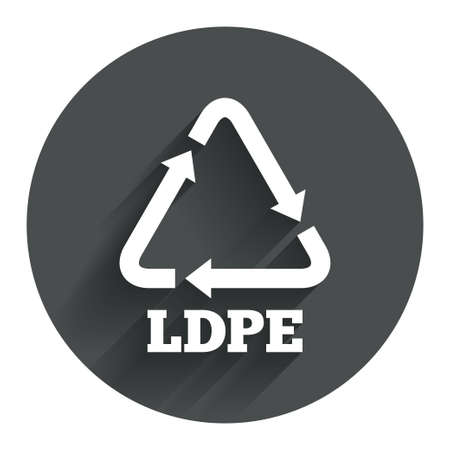 monomer: Ld-pe icon. Low-density polyethylene sign. Recycling symbol. Circle flat button with shadow. Modern UI website navigation. Vector