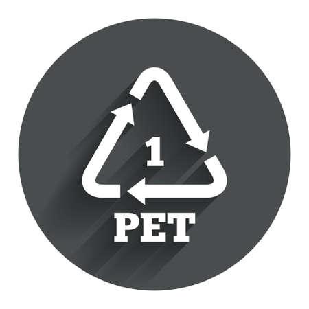 PET 1 icon. Polyethyleentereftalaat teken. Recycling symbool. Flessen verpakking. Cirkel platte knop met schaduw. Modern UI website navigatie. Vector