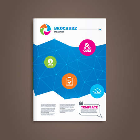 check book: Brochure or flyer design. Quiz icons. Human brain think. Checklist with check mark symbol. Survey poll or questionnaire feedback form sign. Book template. Vector