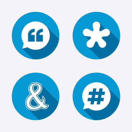 Quote, asterisk footnote icons. Hashtag social media and ampersand symbols. Programming logical operator AND sign. Speech bubble. Circle concept web buttons. Vector Vector