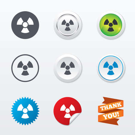 danger of radiation: Radiation sign icon. Danger symbol. Circle concept buttons. Metal edging. Star and label sticker. Vector