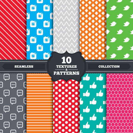 Seamless patterns and textures. Hipster photo camera icon. Like and Chat speech bubble sign. Hand thumb up. Bird  symbol. Endless backgrounds with circles, lines and geometric elements. Vector