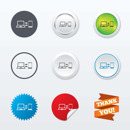in sync: Synchronization sign icon. Notebook with smartphone sync symbol. Data exchange. Circle concept buttons. Metal edging. Star and label sticker. Vector
