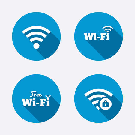wifi sign: Free Wifi Wireless Network icons. Wifi zone locked symbols. Password protected Wifi sign. Circle concept web buttons. Vector