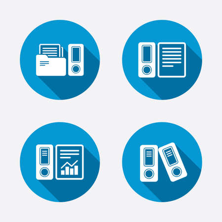 accountancy: Accounting report icons. Document storage in folders sign symbols. Circle concept web buttons. Vector Illustration