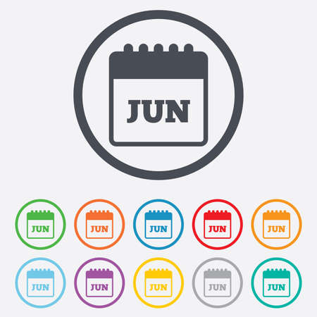 Calendar sign icon. June month symbol. Round circle buttons with frame. Vector